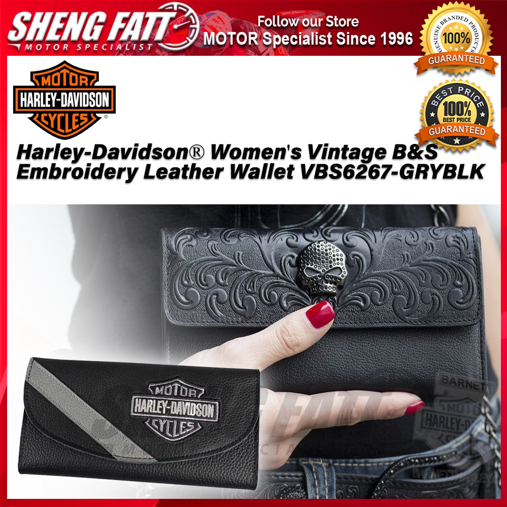 Harley-Davidson® Women's Vintage B&S Embroidery Leather Wallet VBS6267-GRYBLK