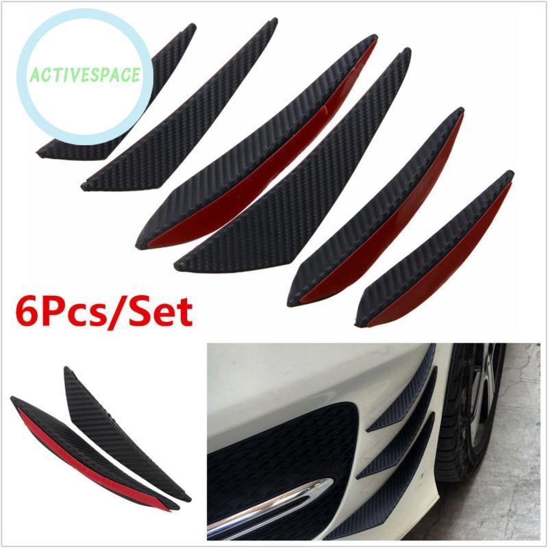 6x Universal Carbon Fiber Look Front Bumper Fin Splitter Spoiler Canard Valence.