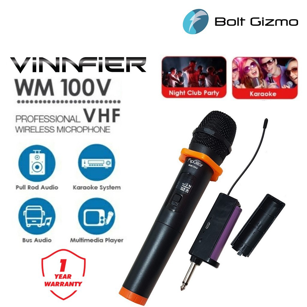Vinnfier Flipgear WM100V Professional Wireless Microphone System With Receiver High End Portable 6.35mm transmitter led
