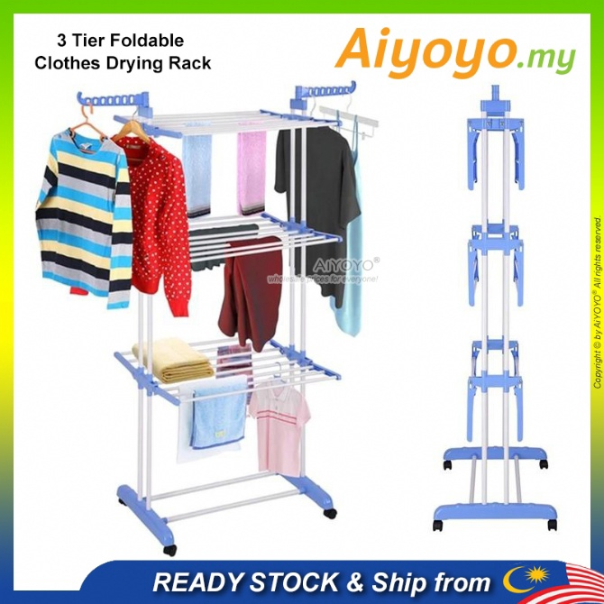 3 Tier Foldable Clothes Hanging Rack Drying Rack Penyidai Baju Rak Baju Rak Pakaian Clothes Rack Underwear Socks Laundry