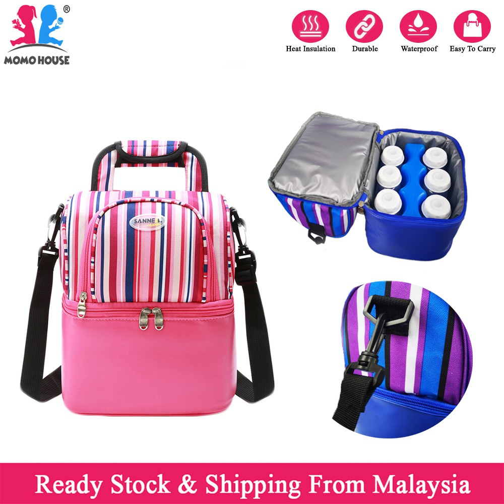 285568c79026 Portable 2 Layer Sling Cooler Bag For Breastmilk Storage Bag Bottle Feeding