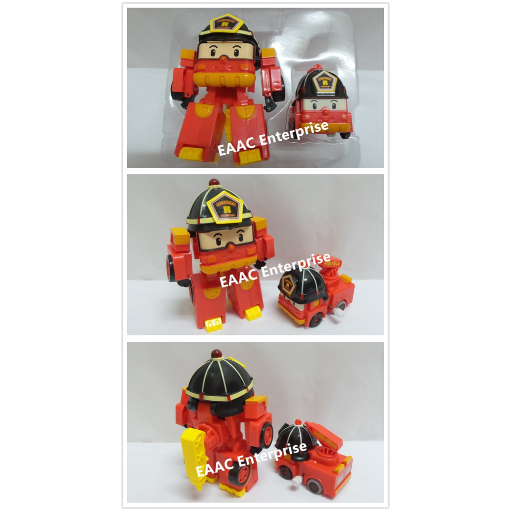 2 in 1 Robocar Poli Police Car Roy (Fire Engine) Transformer Korean Cartoon Toys