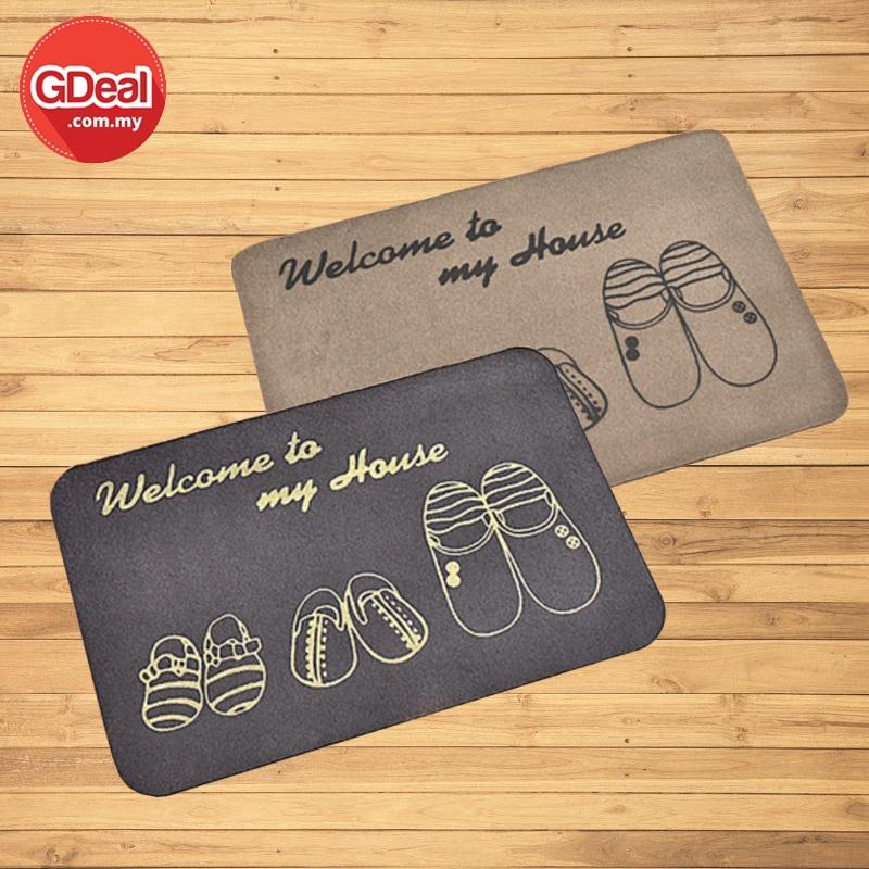 GDeal 2pcs Welcome To My House Door Mats Kitchen Bedroom Toilet Carpet Door Mats Outdoor Non-slip Rugs Porch Doormat
