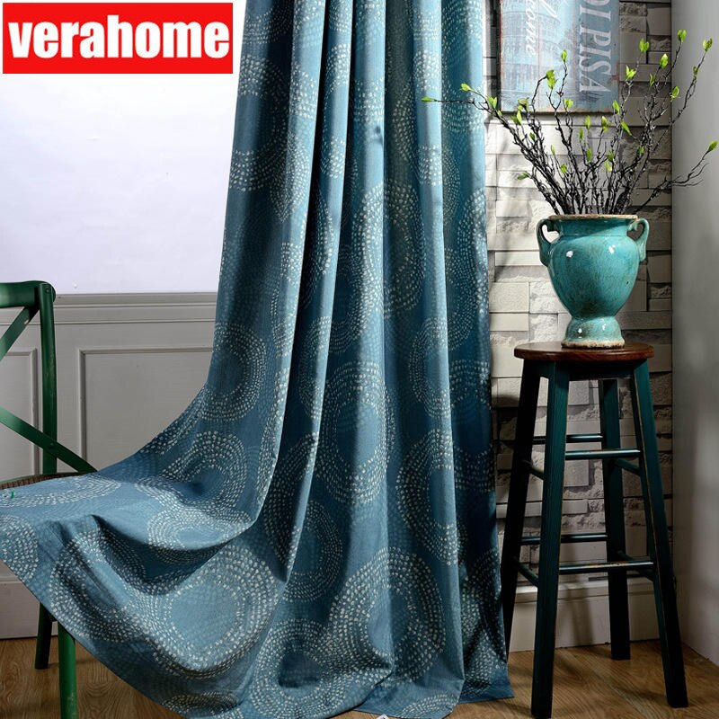 Langsir cotton Blackout blue Curtains for Living Room Bedroom Window Fabric  Drapes home dacor