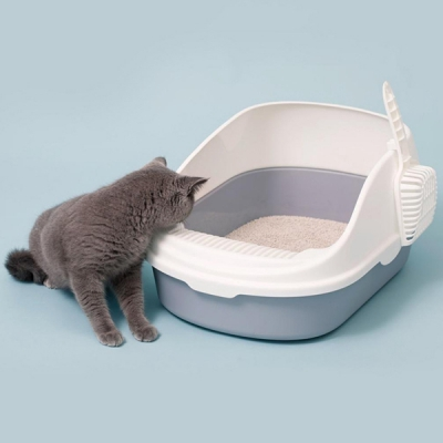 Semi-open Cat Litter Box Pet Supplies from Xiaomi Youpin (CRYSTAL CREAM)