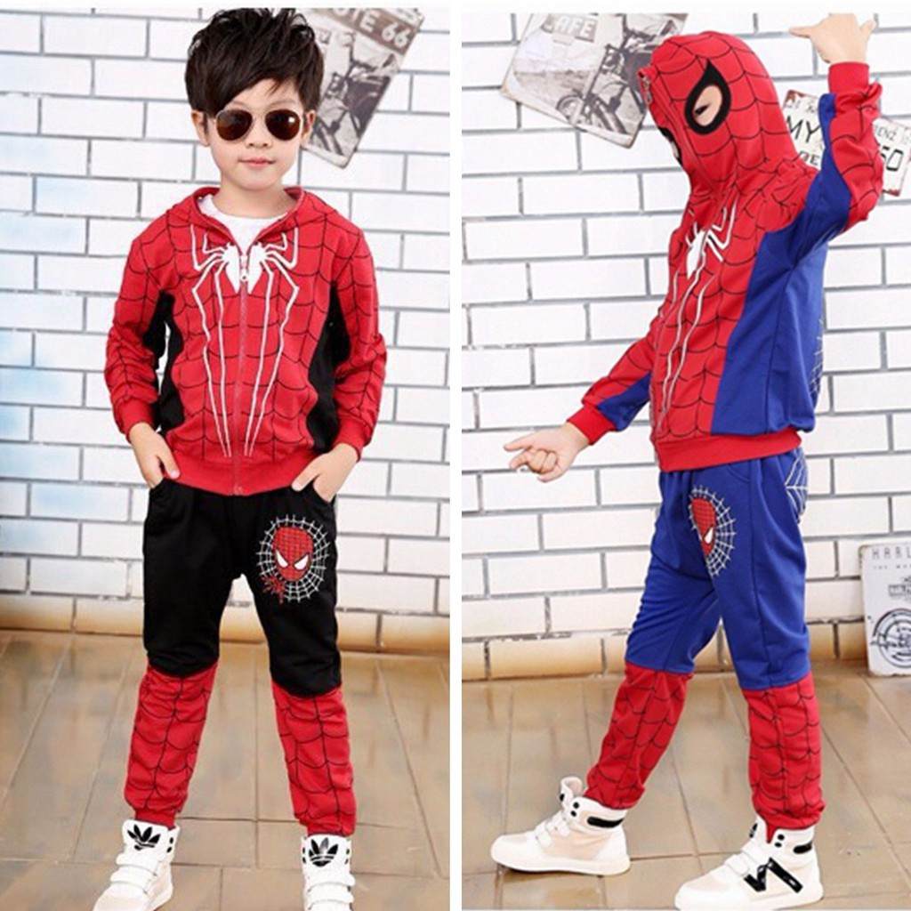 2pcs Kids Baby Toddler Boys Spider-man Sweatshirt Sports Tracksuits Outfits Sets