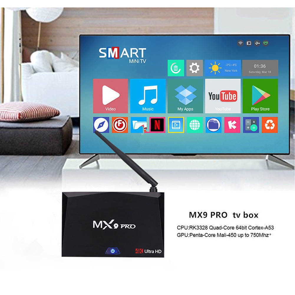 Fancy MX9 Pro 4GB RAM 32GB ROM Android 7 1 TV Box RK3328 Quad Core 2 4G/5G  WiFi Media Player