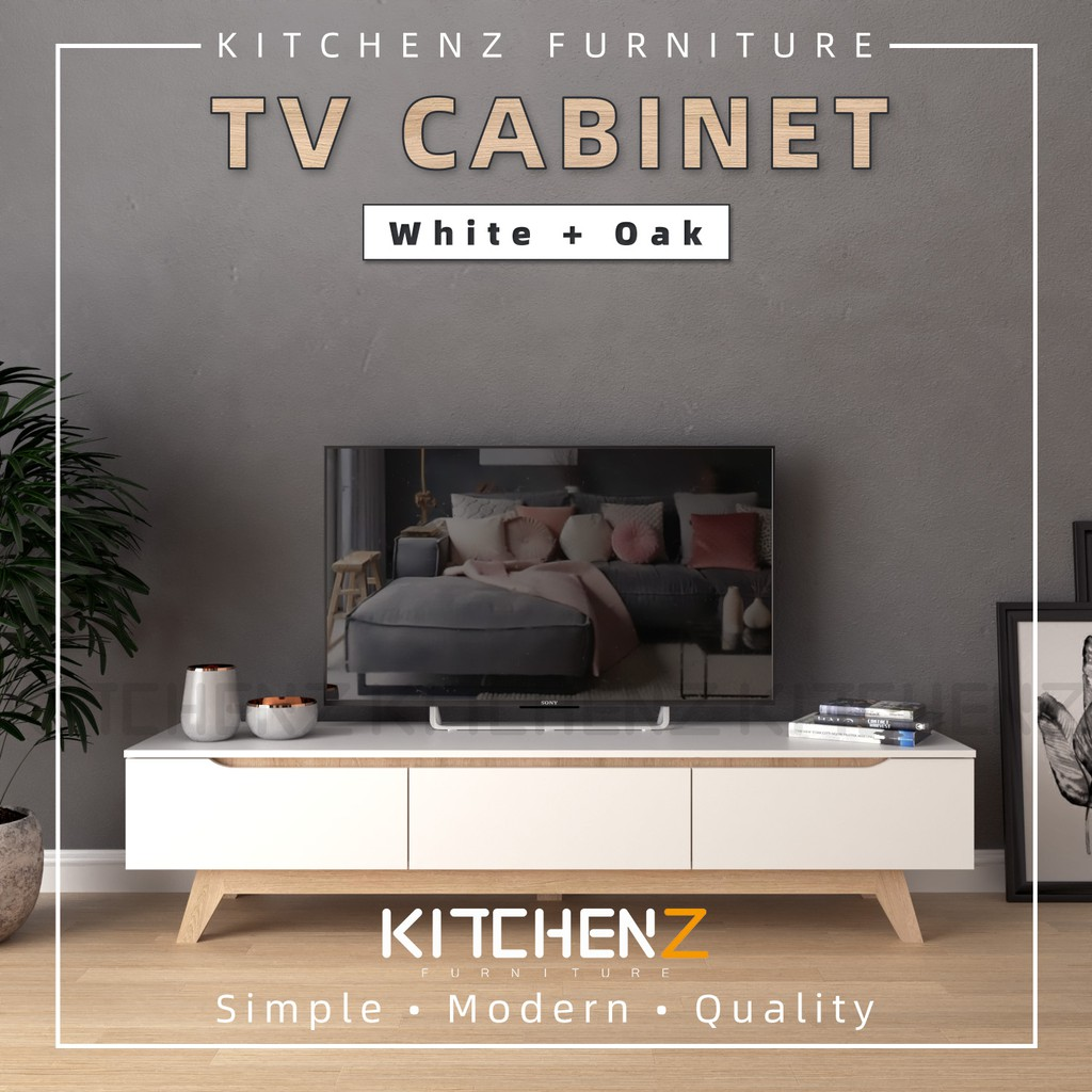 Kitchenz Simona 6Ft Tv Cabinet Modernist Design Solid Board Tv Rack / Tv Console - HMZ-FN-TC-2222-WT