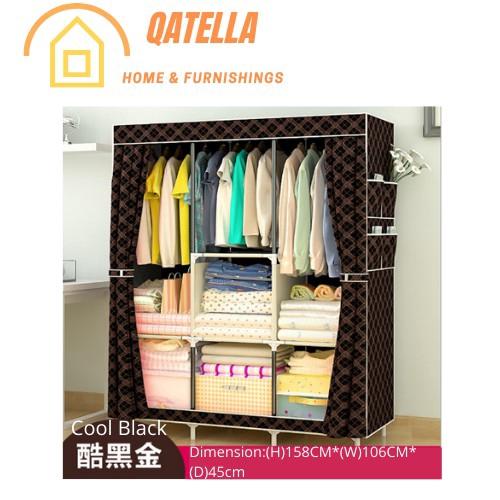 Wardrobe Almari Baju Rak Baju Clothes Organization Storage Rack Cabinet Clothes Rack Bedroom Furniture Cupboard- YG105