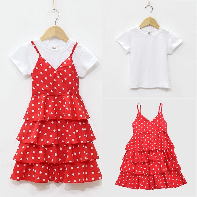 38b9d9aa973a0 Super Western style girls dress tide summer 2019 new girl princess dress  cake skirt wave point harness for children