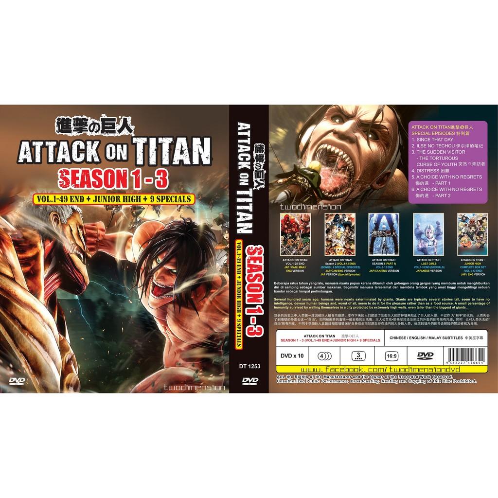 ANIME DVD ~ Attack On Titan Season 1-3(1-49End+Junior High+9 Specials)