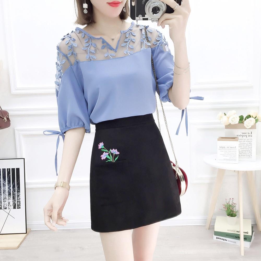 d6a1dac03 Skirt Korean Fashion Suits Chiffon Blouse 2019 Summer 2 Pcs clothing set  women outfit