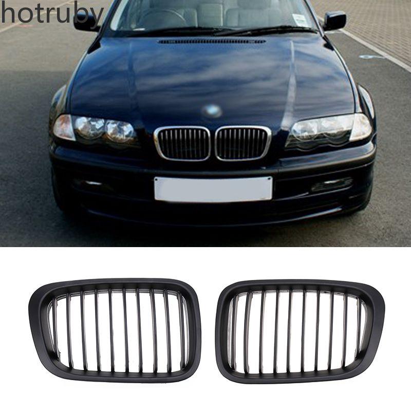 Pair Matte Black Front Insert Kidney Grilles for BMW E46 4D 3 Series 1998-2001