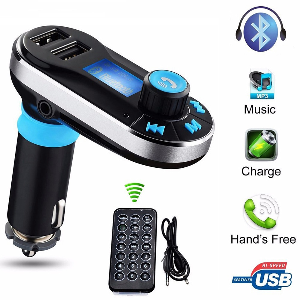 Universal Wireless Bluetooth LCD FM Transmitter Car Kit SD MP3 Dual USB Charger