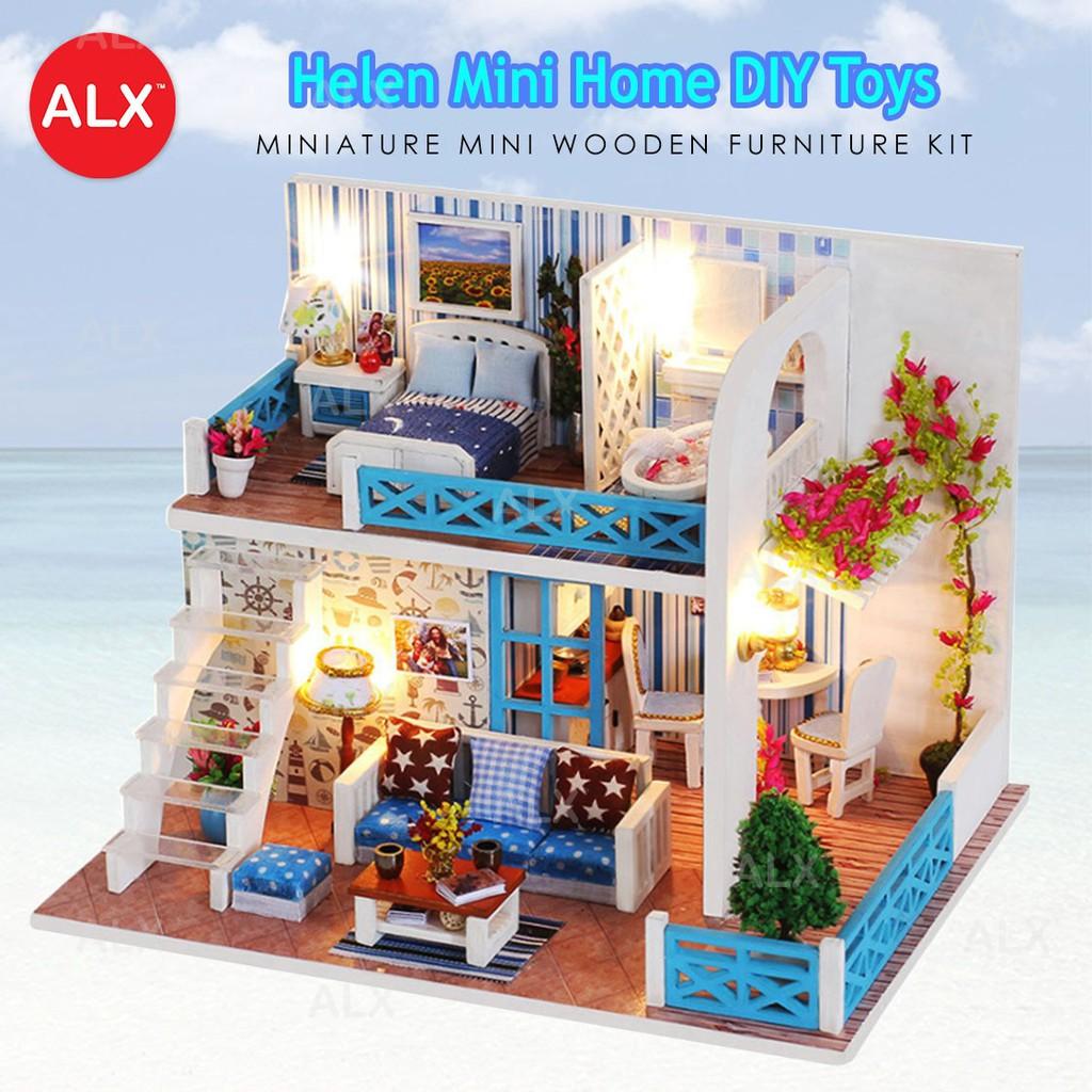 DIY Helen Dollhouse Miniature Mini Wooden Furniture Kit with LED K019