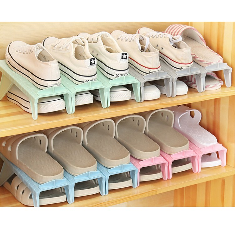 DIY Space Saving Storage Creative Plastic Shoes Organizer Adjustable Rack Holder
