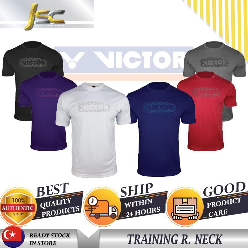 [[100%AUTHENTIC] VICTOR Badminton Tshirt 210106(B) Plain Tee Series Jersey  Baju Sukan Polyester Fabric Round Neck