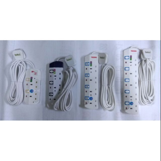 Extension 13A Trailing socket 2,3,4,5 Gang with 5meter cord wire 3pin plug