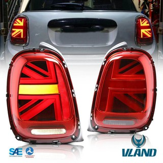 VLAND LED Rear Lights for 2011-2013 Mini Cooper R56 R57 R58 R59 Union Jack Tail Light Lamp,with LED Tech,Clear lens