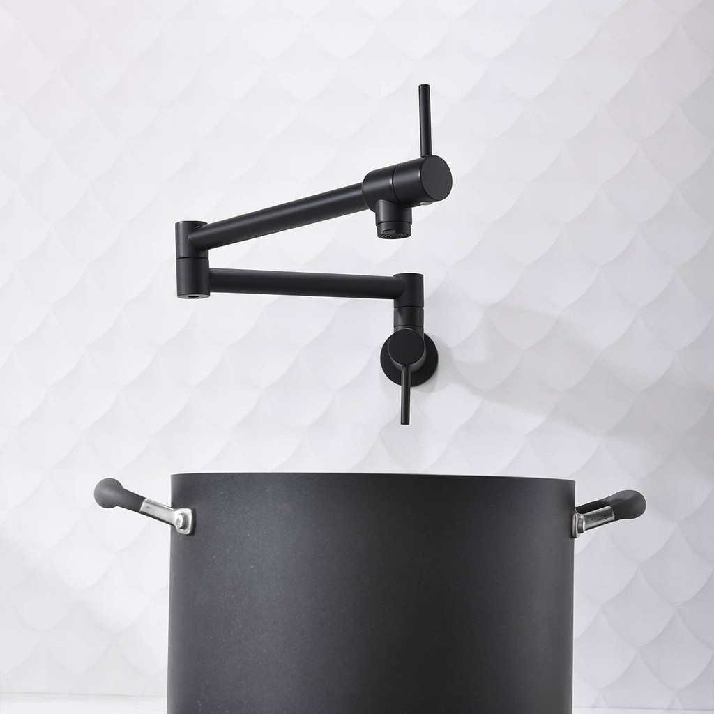 Brass Black Kitchen Faucet Dual Handle Kitchen Tap Wall Mounted Folding Double Handle Single Cold Water Tap Shopee Malaysia