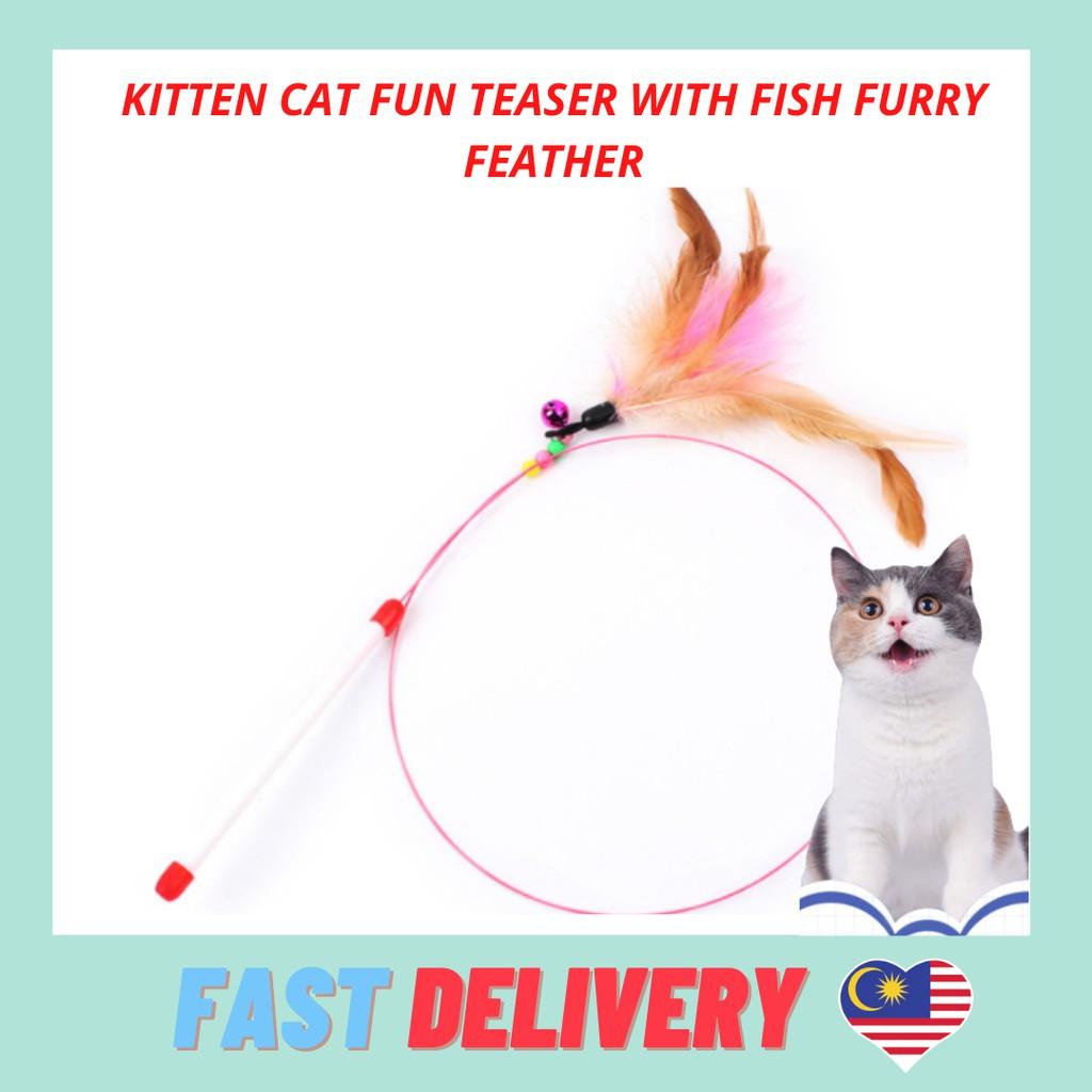 Kitten Cat Fun Teaser with Fish Furry Feather Mainan Kucing Cat Toy