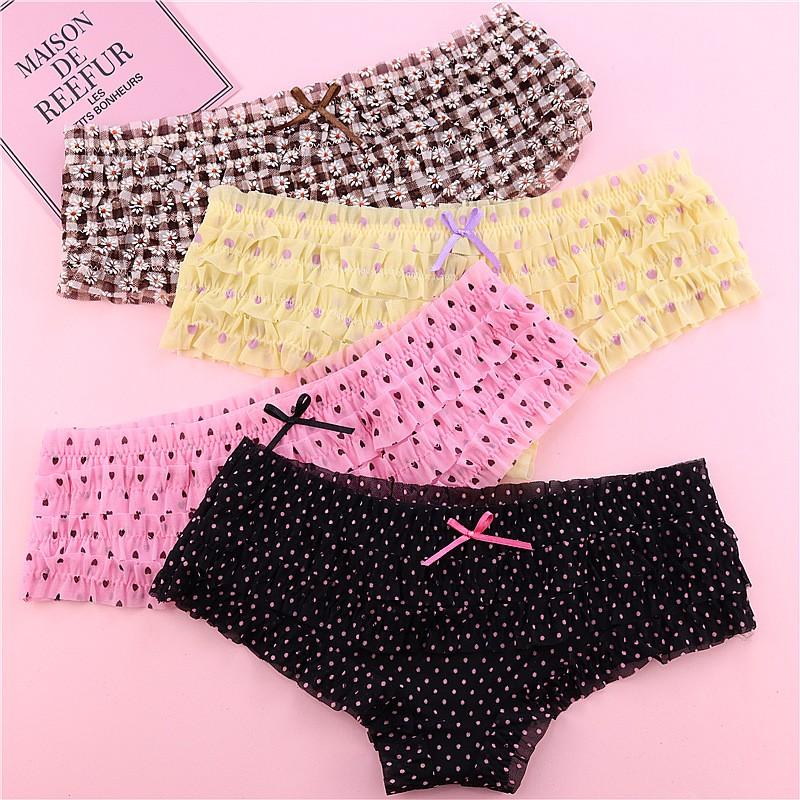 Sexy Underwear Lace Ruffles Women Sheer Panties Shopee Malaysia