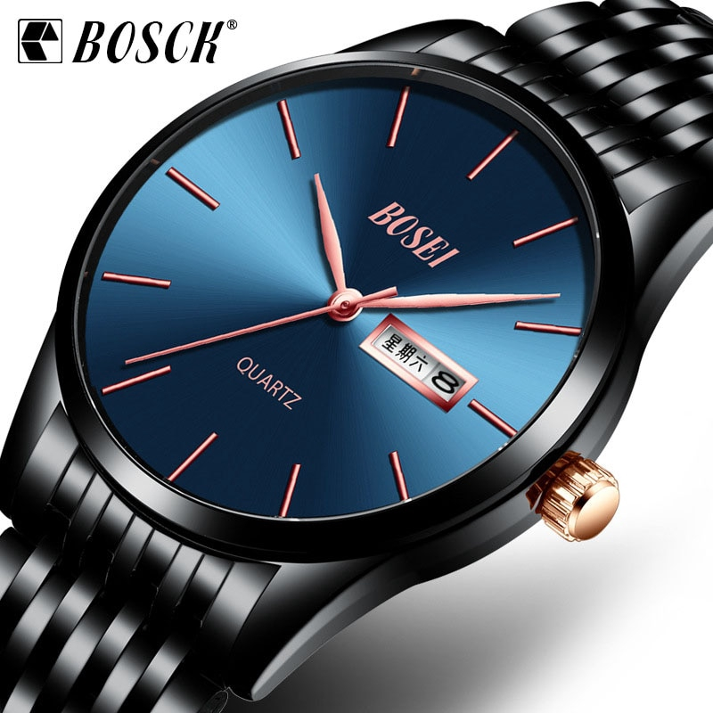 BOSCK New Hot Sale Watch Men Steel Strap Ultra-thin Fashion Wristwatch Male Waterproof Business Quartz Watch