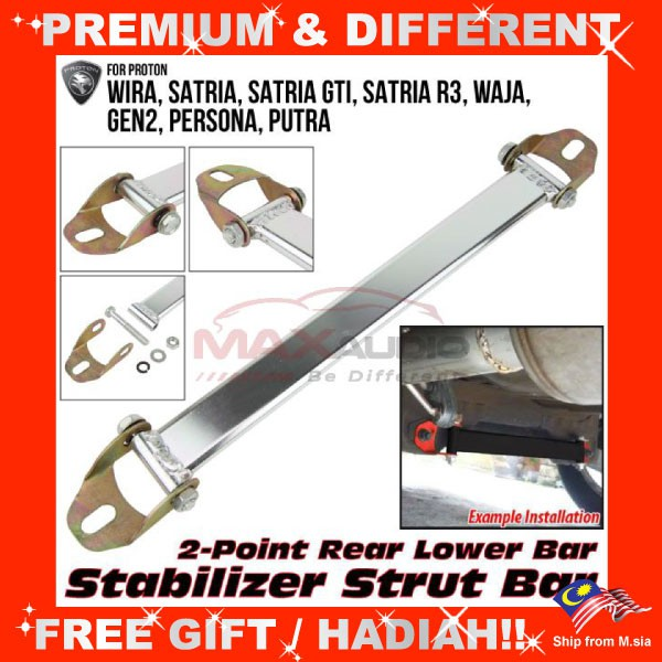 [FREE Gift] PROTON WIRA WAJA GEN2 PERSONA SATRIA GTI PUTRA 2-POINT REAR STABILIZER LOWER STRUT BAR