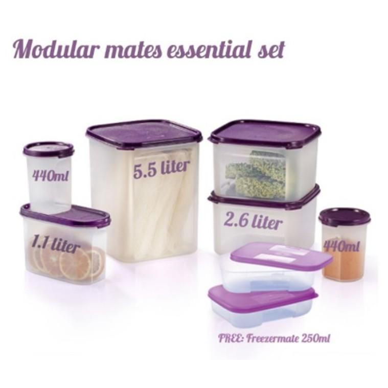 Tupperware Modular Mates Essential Set ( Purple) 8pcs with Gift Box
