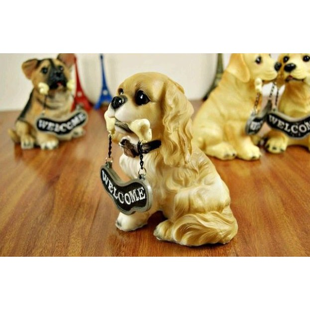 Cute Dog Welcome Desk Ornament
