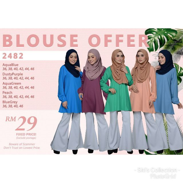 151a02c79 Offer❗Darina Blouse (2482) Saiz 36-46 . Muslimah Blouse . Muslim Wear  .Plain Top