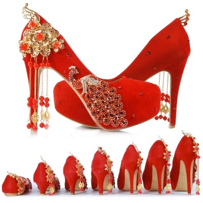 193e8503733 New red bridal shoes wedding shoes Chinese style wedding dress single shoes