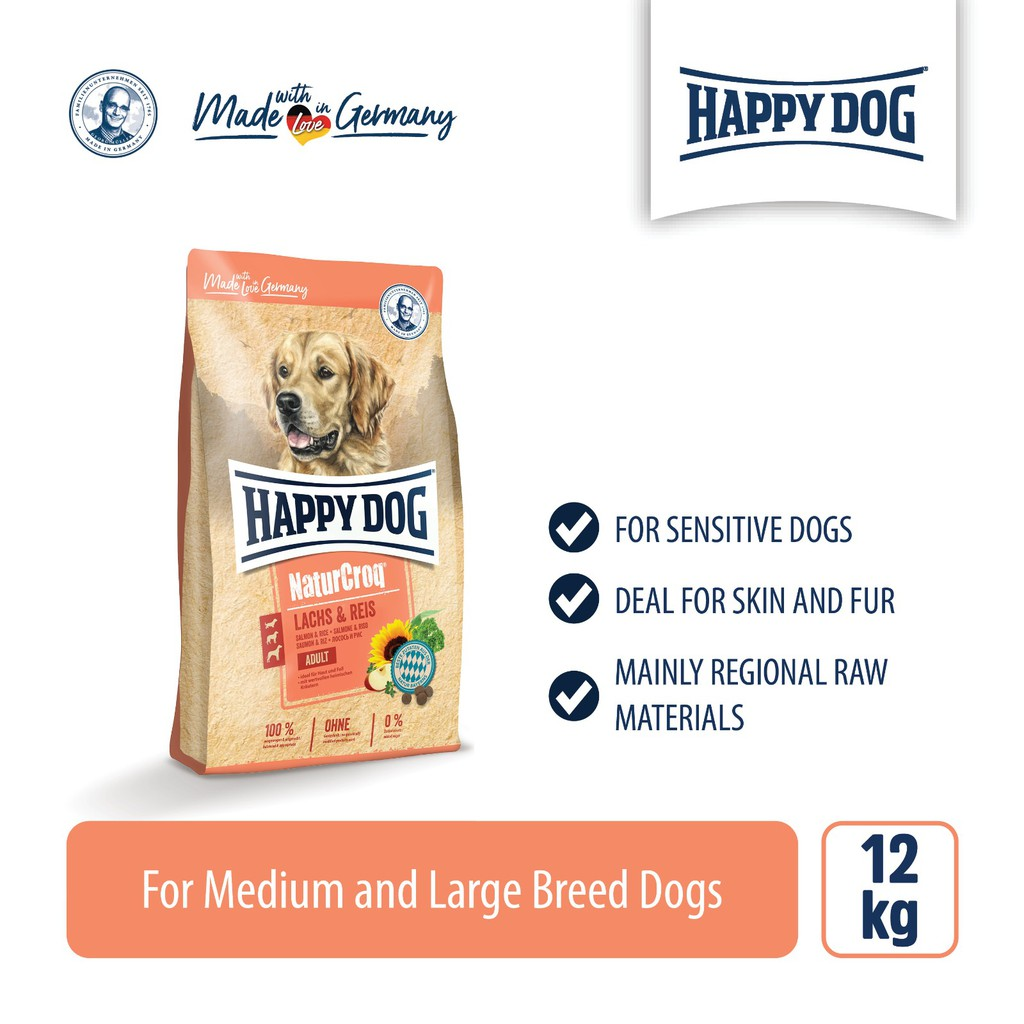 Happy Dog Premium Naturcroq Salmon & Rice (12kg)