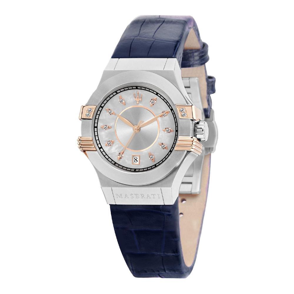 Maserati Potenza Blue Leather Quartz Watches R8851108502