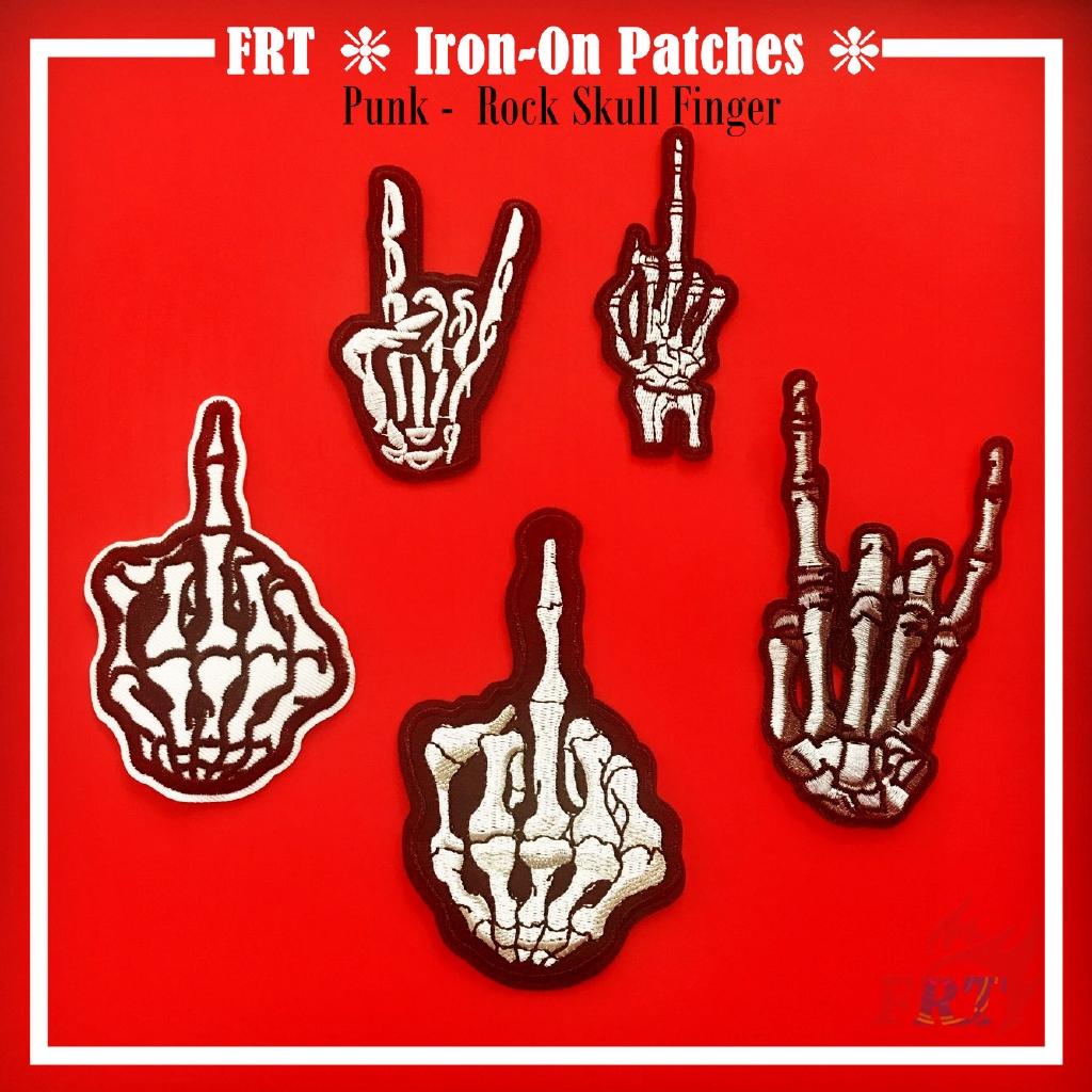 1pcs Sew Iron on Patches Skull Finger Embroidered Badge Applique Sewing