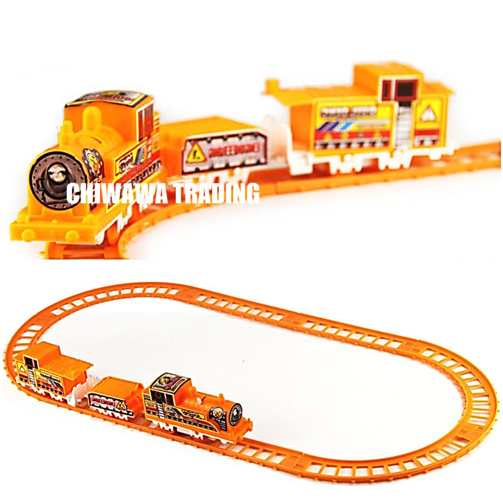 Electric Locomotive Train Track Container Carriage Car Toy Engineering Play Set