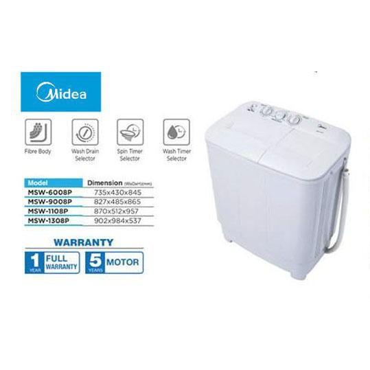 Midea 9KG Semi Auto Washing Machine MSW-9008P