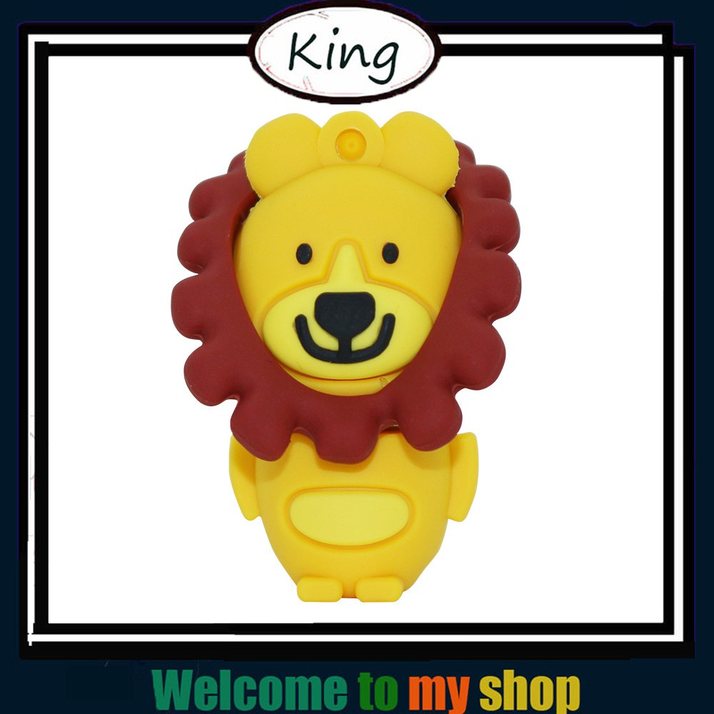 Usb Flash Drive Cute Cartoon Lion 128GB 64GB 32GB 16GB 8GB 4GB Yellow King Pen Drive Lovely Animal Usb Memory Stick