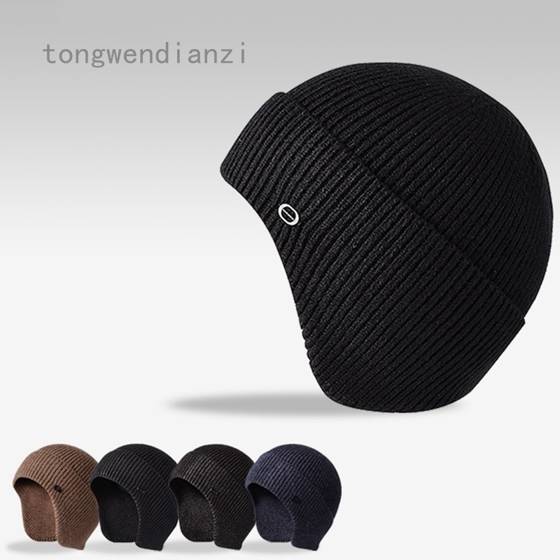 Mens Peaked Knitted Winter Warm Fleece Lined Cap Hat Beanie Ear Flaps Cap Outdoor Accessories
