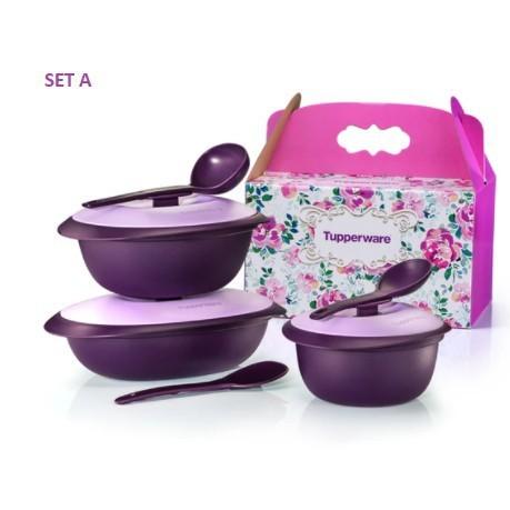 tupperware food storage set/ Ready Stock ~ Tupperware Purple Royale Serveware Set (Set A or Set B) OR Blooms Serveware S