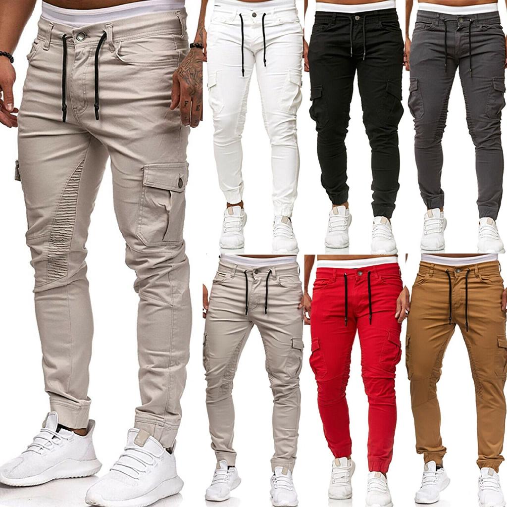 Men Skinny Cargo Pants Drape Slim Fit Combat Casual Adjustable Waist