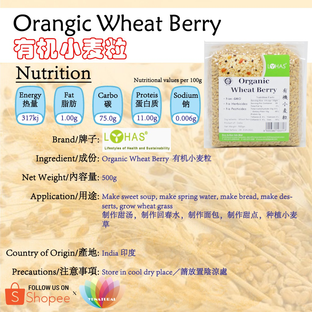 [LOHAS] Organic Wheat Berry 有机小麦粒 500g