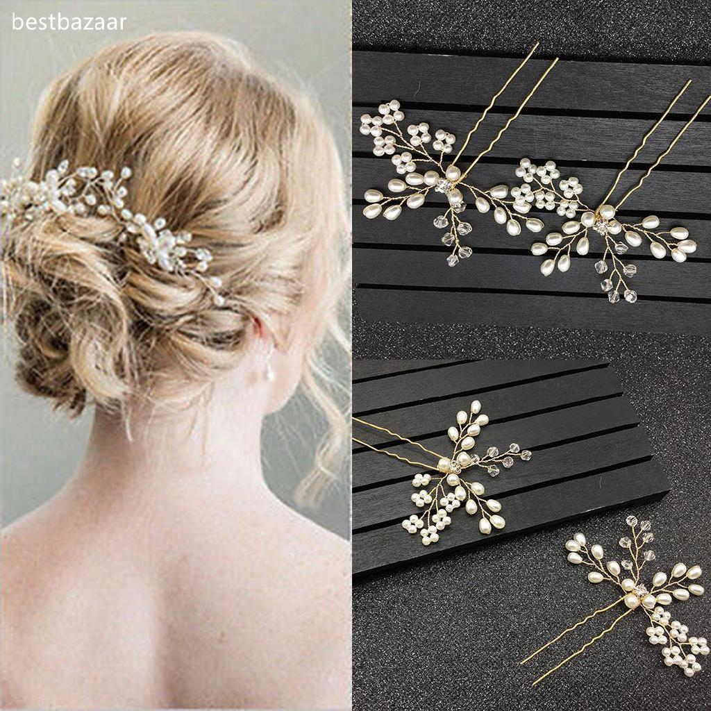 ted pearl flower hairpins wedding bride hair accessories be