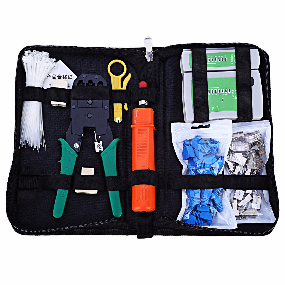 Network Computer Maintenance Tool Kit Cable Tester Crimper Connector