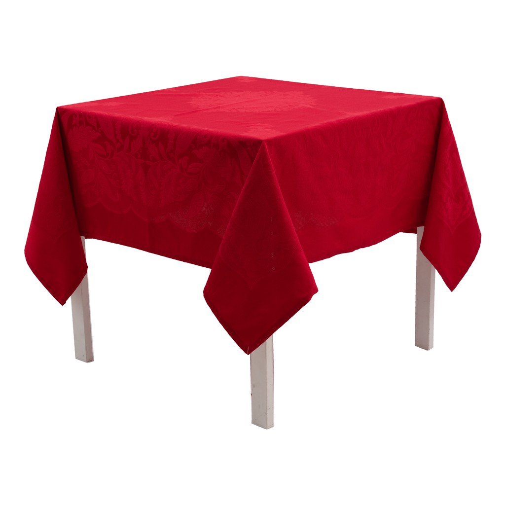 Yarn Dyed Fabric Weaving With Different Color Tones Square/Rectangle Tablecloth. Easy Care Polycotton.  Multi-Size (Red)