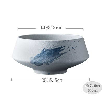 15.5cm Japanese Blue Rhyme Ink Stoneware Bowl And Coffee Cup 150ml Ceramic Mug Bowl Mangkuk Jepun Tableware 日式古典风陶瓷碗