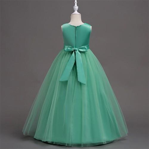 Girls Embroidery Flower Bridesmaid Party Princess Wedding Dress Green 5-14y