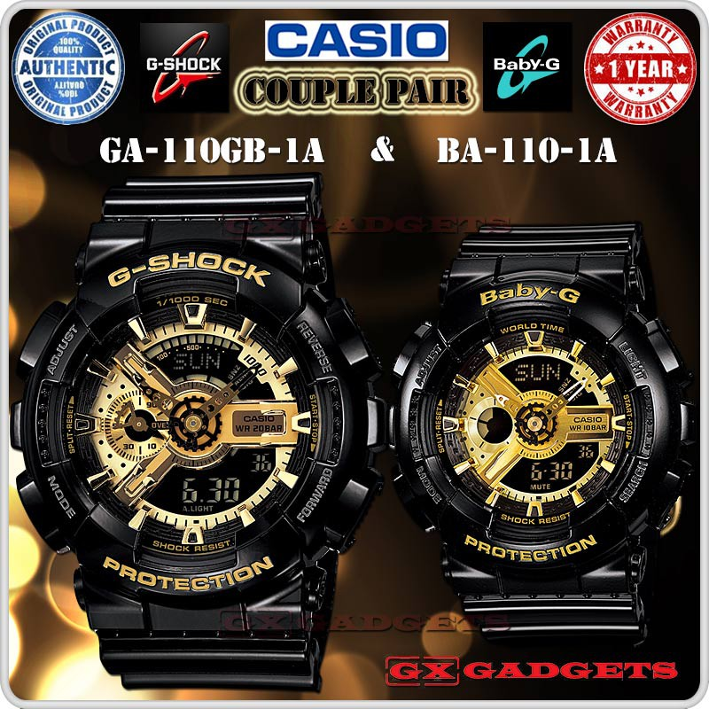 fd4f1c1e1e4c CASIO GA-110GB-1A + BA-110-1A G-SHOCK BABY-G COUPLE PAIR WATCH BLACK GOLD  COLOR