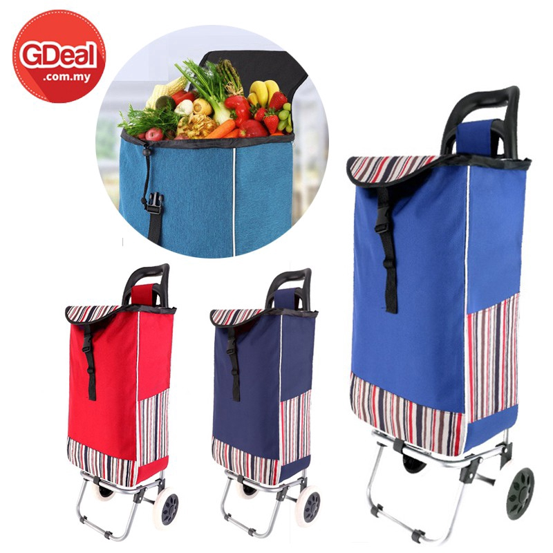 GDeal Portable 2 Wheels Foldable Shopping Cart Household Trolley Shopping Cart
