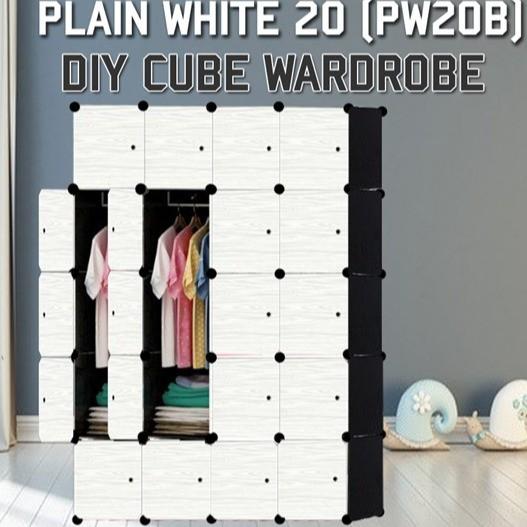 MALAYSIA: PLAIN WHITE 20C DIY Rack Storage Cabinet Wardrobe With Almari Hanger (PW20B)